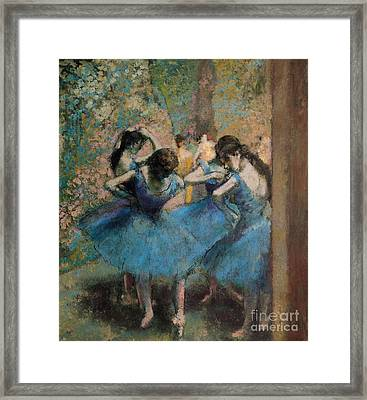 Dancers In Blue Framed Print by Edgar Degas