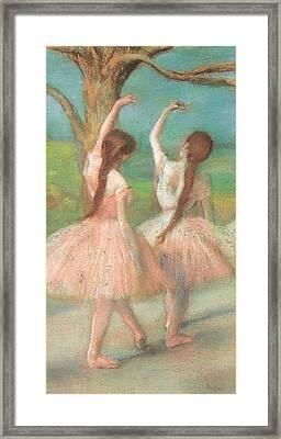 Dancers In Pink Framed Print by Edgar Degas