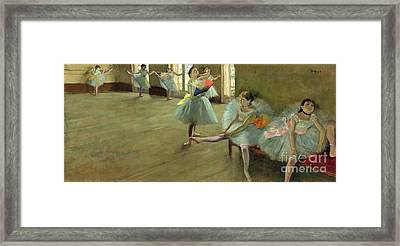 Dancers In The Classroom Framed Print by Edgar Degas
