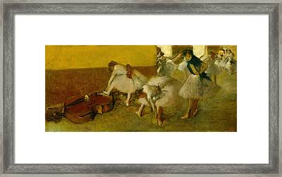 Dancers In The Green Room Framed Print by Edgar Degas