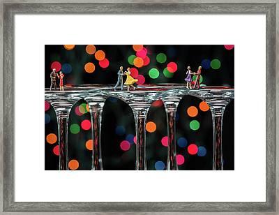 Dancers On Wine Glasses Framed Print