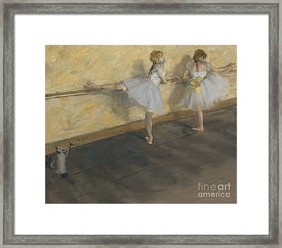 Dancers Practising At The Barre, 1877 Framed Print