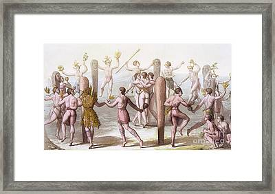 Dances Of The Native Inhabitants Of Virginia Framed Print