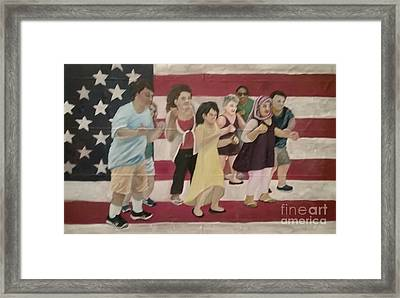 Dancing Americans Framed Print by Saundra Johnson