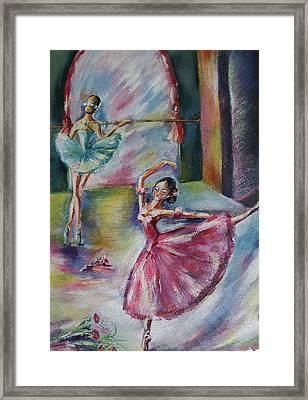 Dancing Ballerinas Framed Print by Khatuna Buzzell