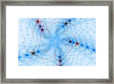Dancing Blue Flower Star In Motion Framed Print