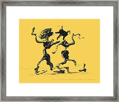 Dancing Couple 1 - Primrose Yellow Framed Print by Manuel Sueess