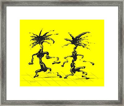 Dancing Couple 5 - Yellow Framed Print by Manuel Sueess