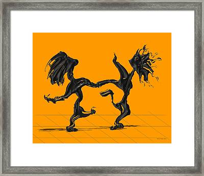 Dancing Couple 8 - Orange Framed Print by Manuel Sueess