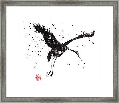 Dancing Crane Framed Print
