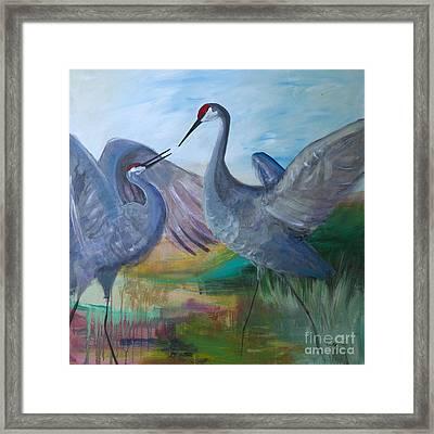Dancing Cranes Framed Print