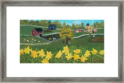 Framed Print featuring the painting Dancing Daffodils by Virginia Coyle