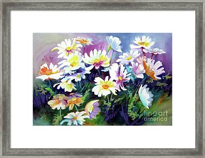 Framed Print featuring the painting Dancing Daisies by Kathy Braud
