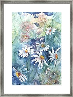 Framed Print featuring the painting Dancing Daisies by Renate Nadi Wesley