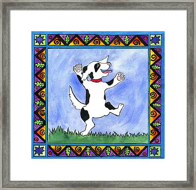 Dancing Dog Framed Print by Pamela  Corwin