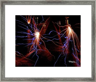 Framed Print featuring the photograph Dancing Fireworks #0707 by Barbara Tristan