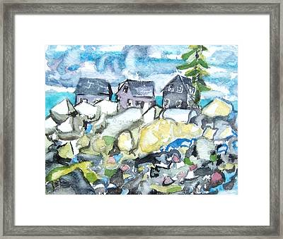 Dancing Fish Houses Framed Print by Patricia Bigelow