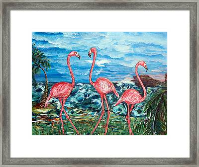 Dancing Flamingos  Framed Print