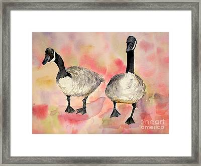 Dancing Geese Framed Print