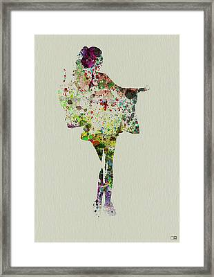 Dancing Geisha Framed Print by Naxart Studio