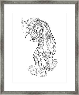 Dancing Gypsy Horse Zentangle Framed Print