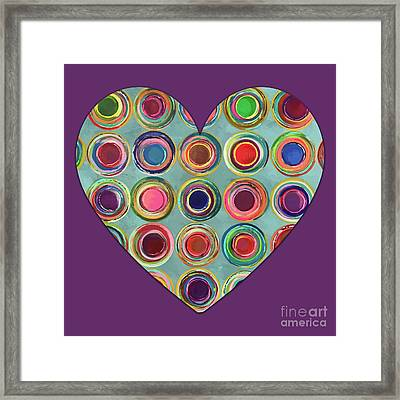 Framed Print featuring the painting Dancing In Circles Heart by Carla Bank