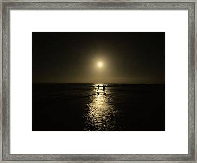 Dancing In The Moonlight In Yellow Framed Print
