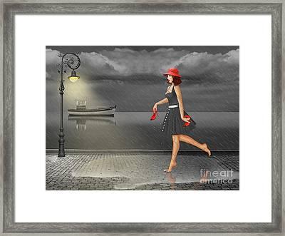 Dancing In The Rain Framed Print by Monika Juengling