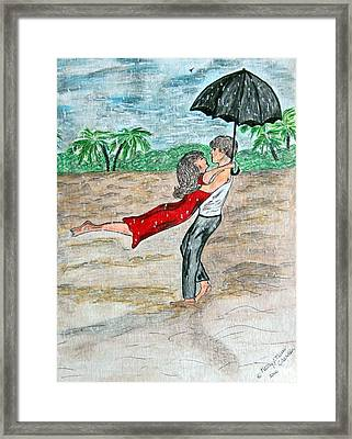 Dancing In The Rain On The Beach Framed Print by Kathy Marrs Chandler