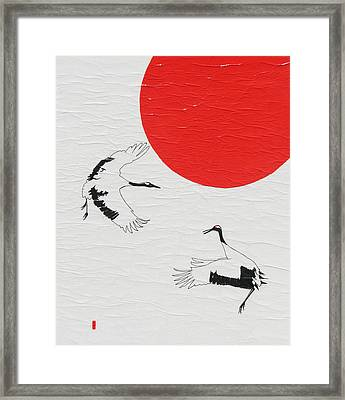 Dancing Japanese Cranes Framed Print by Stephanie Grant