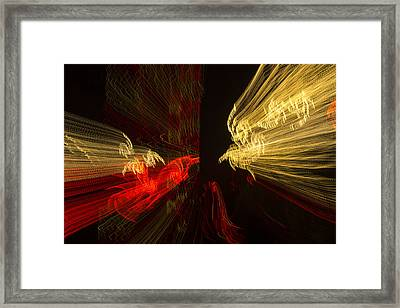 Dancing Lights 2 - Up Against A Barrier Framed Print by Penny Lisowski