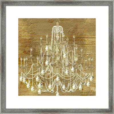 Lit Chandelier Gold Framed Print by Mindy Sommers