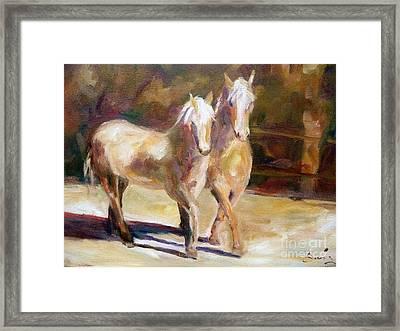 Dancing Palomino Horses Framed Print by Xx X