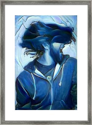 Dancing Portrait Of Wild Male Hair In Blue Framed Print by MendyZ