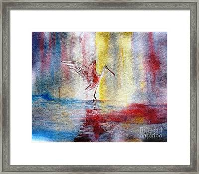 Dancing Roseate Spoonbill Framed Print by Georgia Johnson