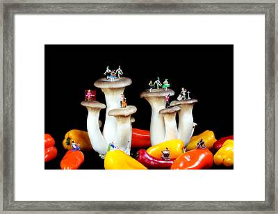 Dancing Show On Mushroom Framed Print by Paul Ge