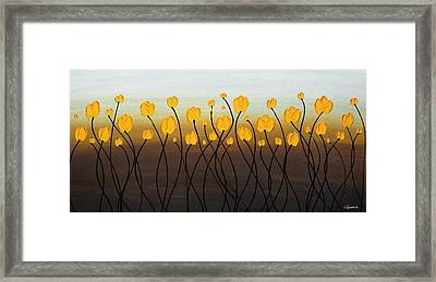 Framed Print featuring the painting Dancing Tulips by Carmen Guedez