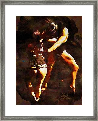 Dancing Under The Red Blood Moon Framed Print by Joan Reese
