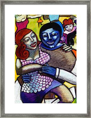 Dancing With A Blue Man Framed Print by Angelina Marino