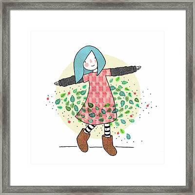 Dancing With Leaves Framed Print by Carolina Parada