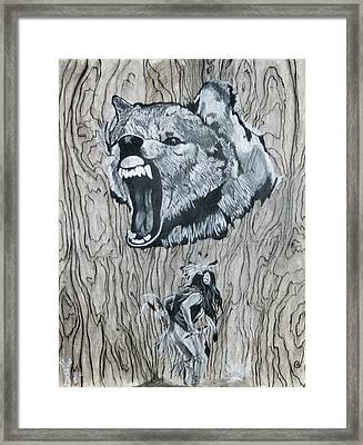 Dancing With The Spirit Of The Wolf Framed Print by KeMonee Casey