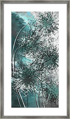 Dandelion Overwhelm - Turquoise And Gray Modern Art Framed Print by Lourry Legarde