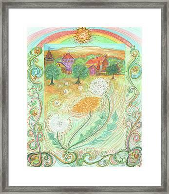 Dandelion Village By Jrr Framed Print