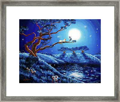Dandelion Wishes And Pine Trees Framed Print by Laura Iverson