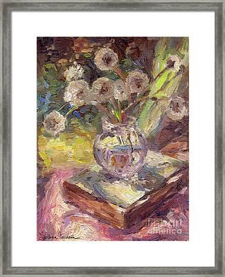 Dandelions Flowers In A Vase Sunny Still Life Painting Framed Print by Svetlana Novikova