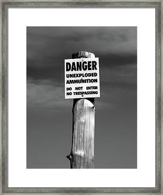Danger In Black And White Framed Print
