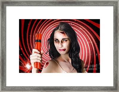 Danger. Zombie Holding Explosives In A Terror Act  Framed Print