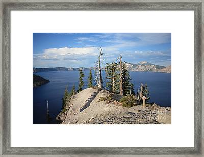 Dangerous Slope At Crater Lake Framed Print by Carol Groenen