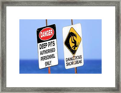 Dangerous Surf Warning Signs At Pipeline On Oahu's North Shore.  Framed Print