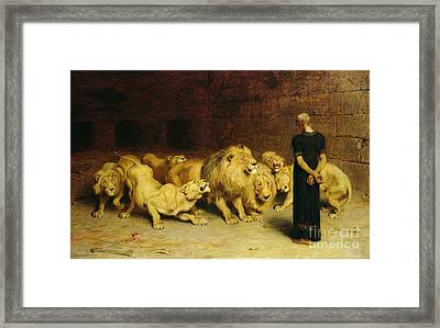 Daniel In The Lions Den Framed Print by Briton Riviere